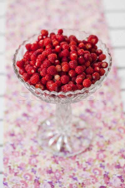 Bowl of wild strawberries Stock photo © ElinaManninen