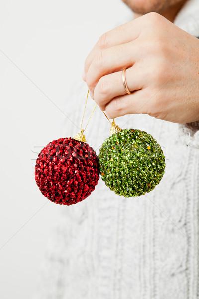 Zöld piros karácsony közelkép enyém férfi Stock fotó © ElinaManninen