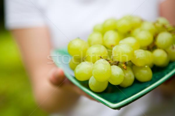 Fresh green grapes Stock photo © ElinaManninen