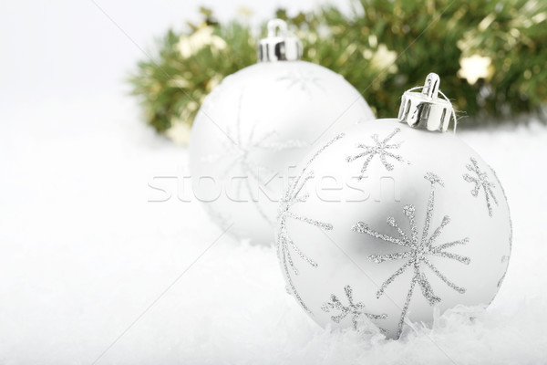 Silver Christmas baubles. Stock photo © ElinaManninen
