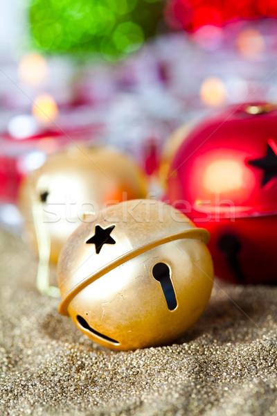 Christmas złoty czerwony dzwon tle Zdjęcia stock © ElinaManninen