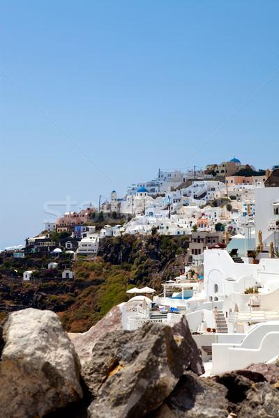 Santorini Grecja widoku miasta niebo miasta Zdjęcia stock © ElinaManninen