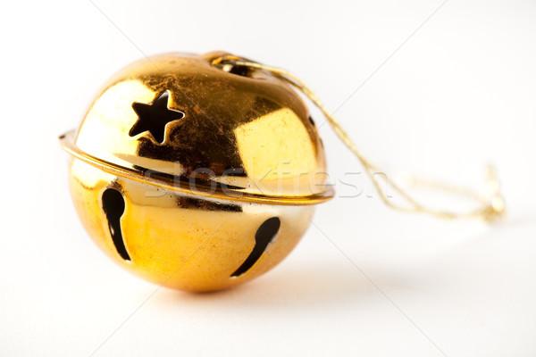 Golden Weihnachten Spielerei weiß Glocke Hintergrund Stock foto © ElinaManninen