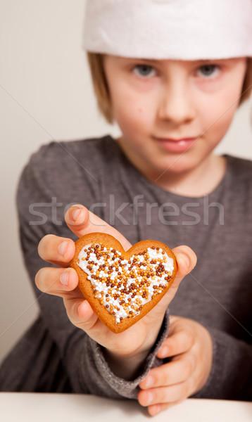 Dekore edilmiş Noel zencefilli çörek kız kalp Stok fotoğraf © ElinaManninen