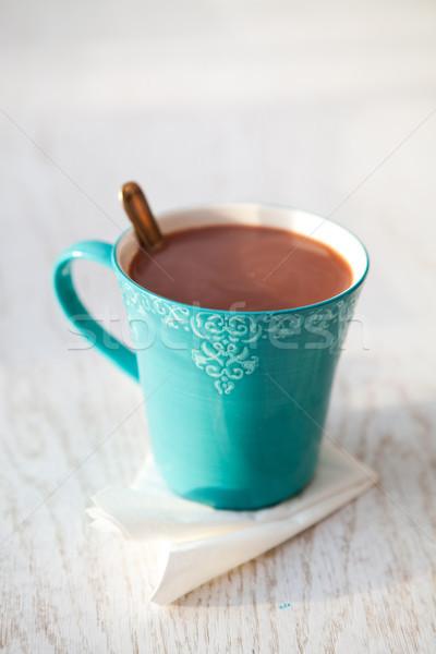 горячий шоколад бирюзовый кружка кофе Сток-фото © ElinaManninen