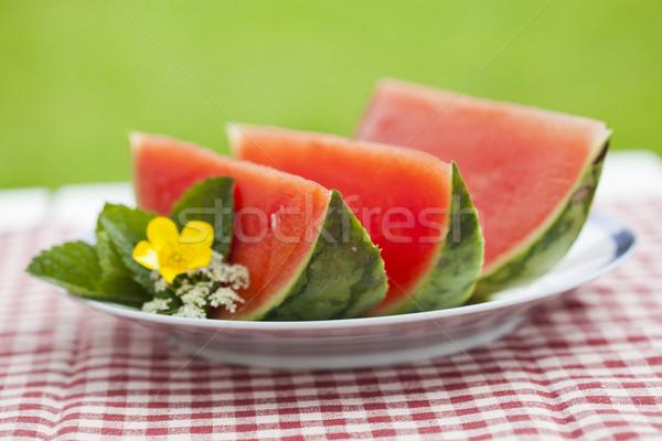 Görögdinnye közelkép finom tányér szabadtér asztal Stock fotó © ElinaManninen