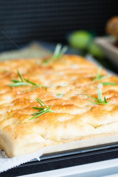 Freshly baked focaccia bread Stock photo © ElinaManninen