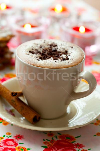 Chocolate quente delicioso chocolate canela beber Foto stock © ElinaManninen