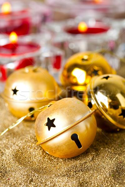 Рождества колокола фон зеленый Сток-фото © ElinaManninen