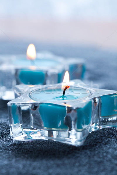 Niebieski świece star srebrny Zdjęcia stock © ElinaManninen