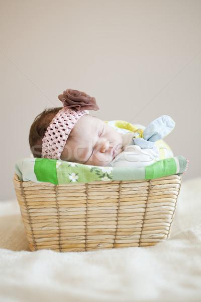 Baby portret cute snem Zdjęcia stock © ElinaManninen