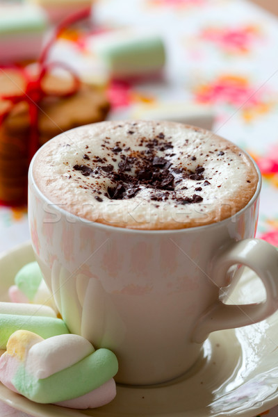 Forró csokoládé közelkép finom csokoládé ital fehér Stock fotó © ElinaManninen