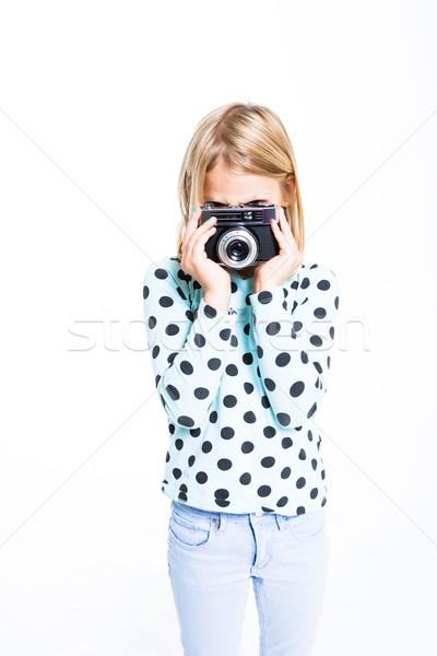 Stock fotó: Lány · öreg · kamera · fényképezés · film · portré