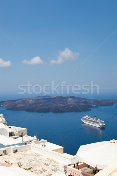 Tengerjáró hajó Santorini Görögország sziget égbolt kék Stock fotó © ElinaManninen