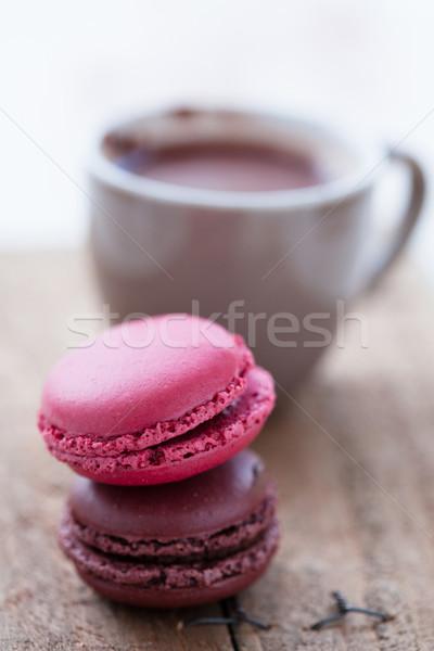горячий шоколад два Кубок десерта Sweet Сток-фото © ElinaManninen