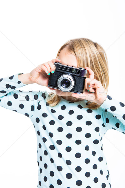 Girl with an old camera Stock photo © ElinaManninen