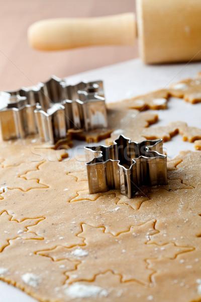 Stock fotó: Mézeskalács · készít · sütik · karácsony · csillag · formák