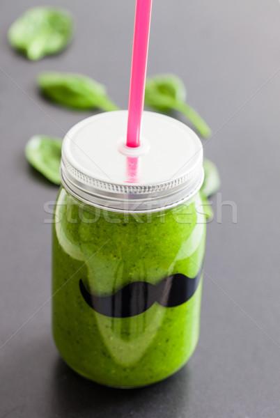 Zöld smoothie üveg bögre friss egészséges étel Stock fotó © ElinaManninen