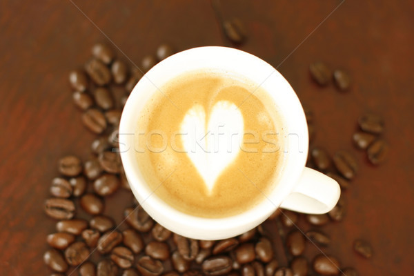 Top view of piccolo latte with a coffee art design. Stock photo © ElinaManninen