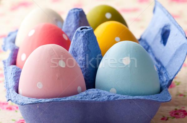 Stock fotó: Húsvéti · tojások · közelkép · pasztell · színes · kék · karton