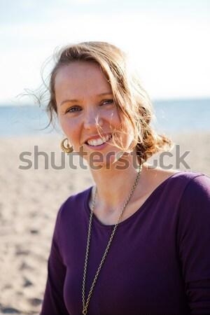 Chłopca matka plaży portret kobieta Zdjęcia stock © ElinaManninen