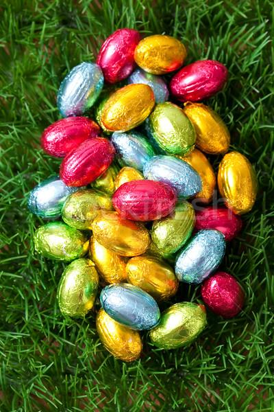 шоколадом пасхальных яиц трава яйцо розовый Сток-фото © ElinaManninen
