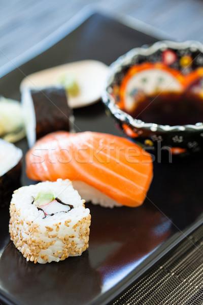 Szusi tányér szójaszósz közelkép egészséges frissen Stock fotó © ElinaManninen