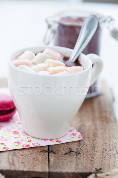 Hot chocolate with marshmallows and macaroon Stock photo © ElinaManninen