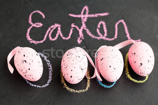 Pink Easter eggs and text Stock photo © ElinaManninen