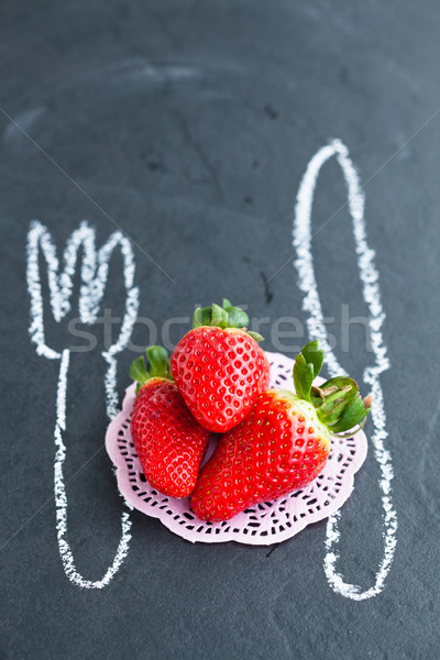 Vers geheel aardbeien drie krijt tekeningen Stockfoto © ElinaManninen