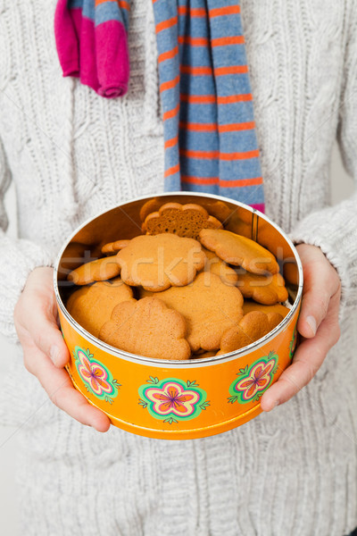 Tin of gingerbread biscuits Stock photo © ElinaManninen