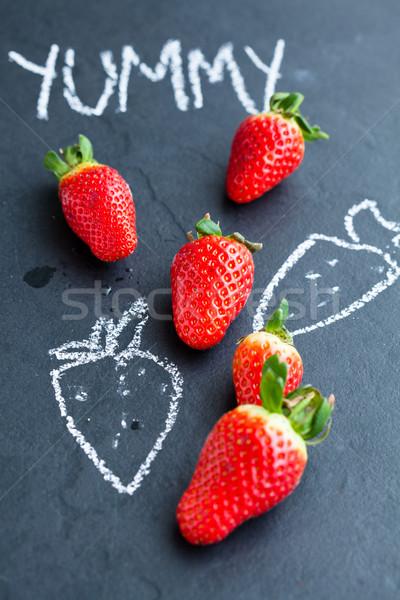Vers geheel aardbeien krijt tekeningen Stockfoto © ElinaManninen