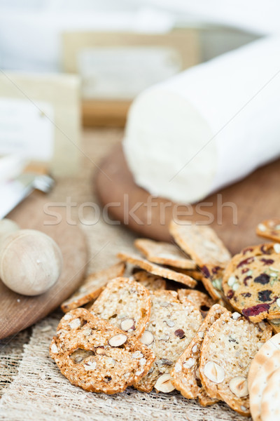 Crackers and cheese Stock photo © ElinaManninen