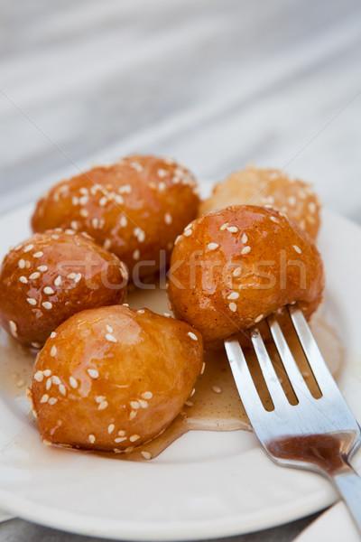 Stockfoto: Grieks · dessert · geserveerd · witte · plaat · honing