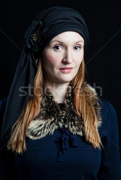 Portré elegáns vonzó nő stúdió visel kék Stock fotó © ElinaManninen