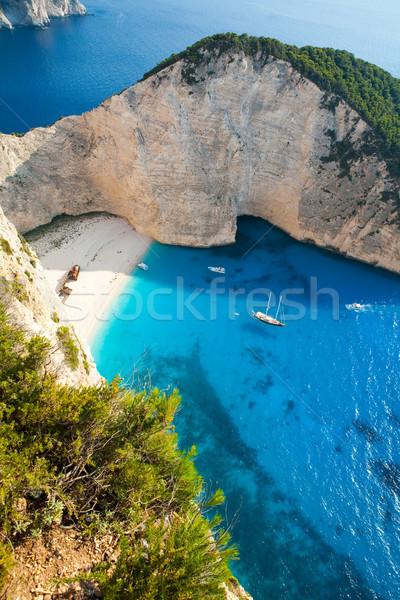 Gemi enkazı plaj güzel turkuaz su Stok fotoğraf © ElinaManninen
