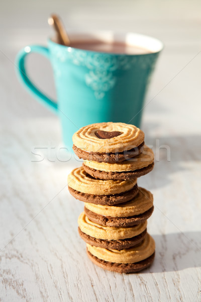 Hot chocolate and biscuits Stock photo © ElinaManninen