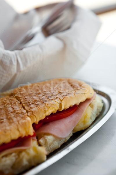 Tostato sandwich prosciutto formaggio pomodoro Foto d'archivio © ElinaManninen