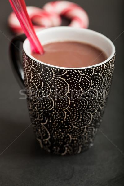 Gorąca czekolada kubek czerwony plastikowe łyżka Zdjęcia stock © ElinaManninen