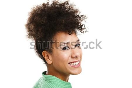 Boldog nő mosolyog gyönyörű nő mosolyog felfelé néz stúdiófelvétel Stock fotó © ElinaManninen