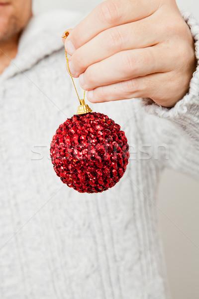 Rot Weihnachten Spielerei hängen Mann Stock foto © ElinaManninen