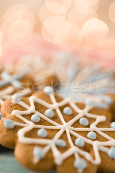 Karácsony mézeskalács finom házi készítésű sütik étel Stock fotó © ElinaManninen