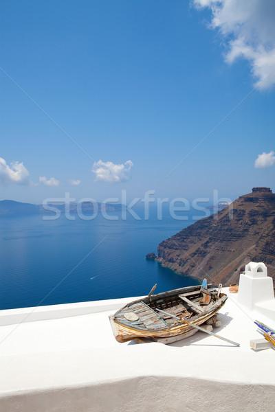 Edad remo barco santorini Grecia Foto stock © ElinaManninen