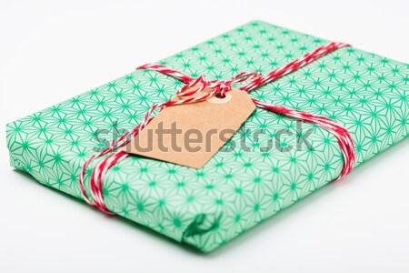простой подарок тег пакет зеленый Сток-фото © ElinaManninen