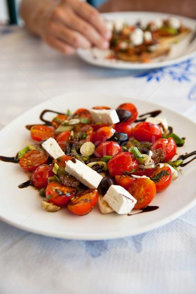 Görög saláta finom fehér étterem asztal Stock fotó © ElinaManninen
