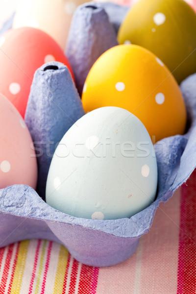 Húsvéti tojások közelkép pasztell színes kék karton Stock fotó © ElinaManninen