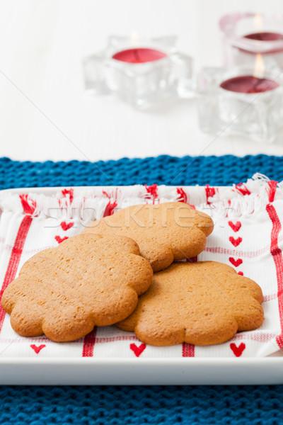 Foto d'archivio: Pan · di · zenzero · biscotti · piatto · riposo · blu · decorativo