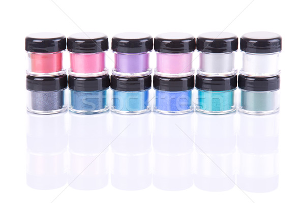 Stack of loose eye shadows in plastic jars  Stock photo © Elisanth