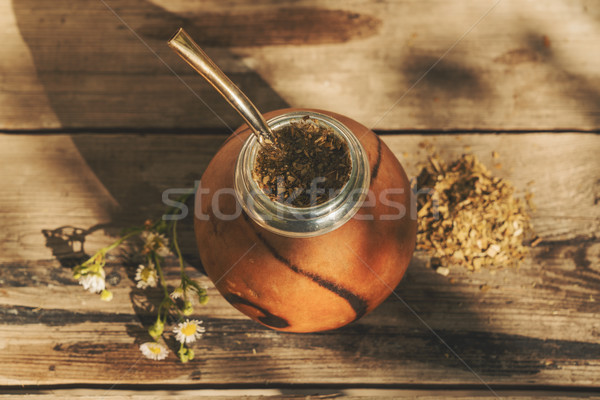 Argentinean yerba mate drink with chamomile flowers  Stock photo © Elisanth