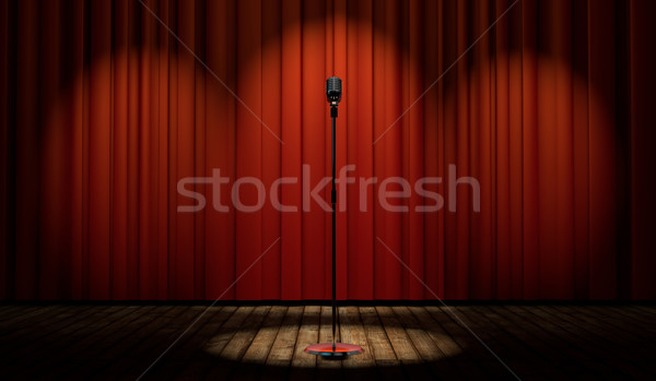3d vintage microphone on stage with red curtain  Stock photo © Elisanth